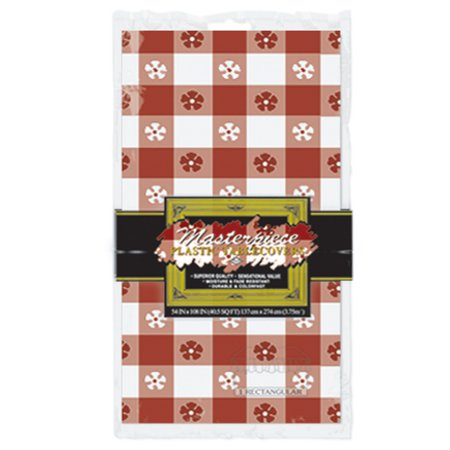 Club Pack of 12 Red and White Gingham Disposable Plastic Rectangular Decorative Table Covers -
