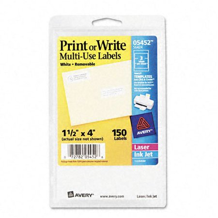 Avery Self-Adhesive Removable Labels, 1.5 x 4 Inches, White, 150 per Pack (Avery Labels 16 Per Page No Border)