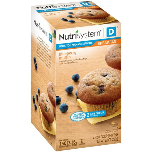 Nutrisystem D Blueberry Muffins, 2 oz, 4 count, (Pack of 4)