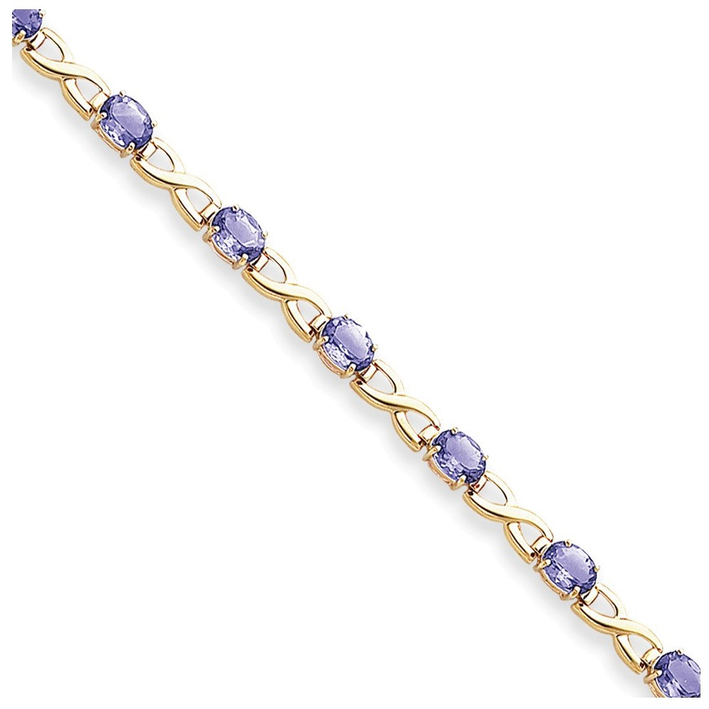 14k 7x5mm Oval Tanzanite bracelet by