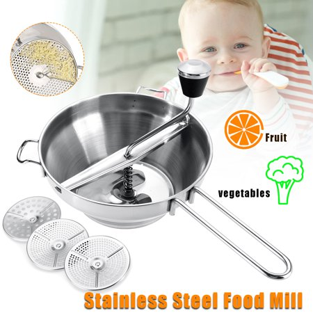 Grtsunsea Stainless Steel Food Mill with 3 Different Mixing Blade, Vegetable/Carrot/Tomato/Potato/Rice Manual Mixer Maker 2 Quart Capacity  - image 8 of 8