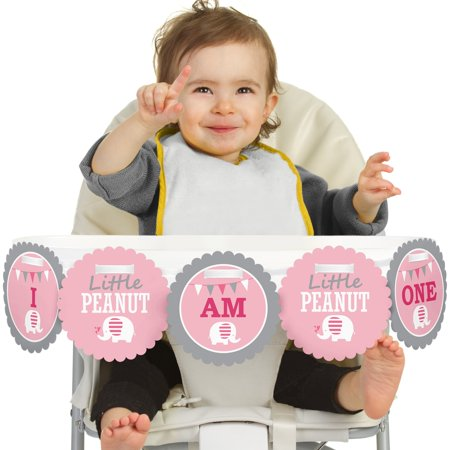 Pink Elephant - I Am One - First Birthday High Chair Birthday Banner