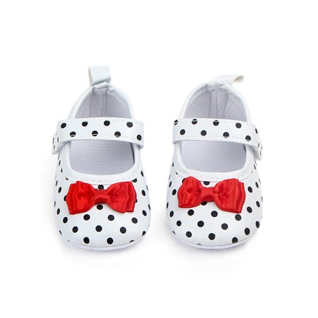 BOBORA Baby Girl PU Polka Dots Shoes Princess Sole Anti-slip Party Baby Girls First Walker ()