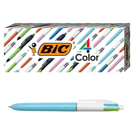 BIC 4-Color Fashion Ballpoint Pen, Light Blue Barrel, Medium Point (1.0 mm), Assorted Inks, 4 Count