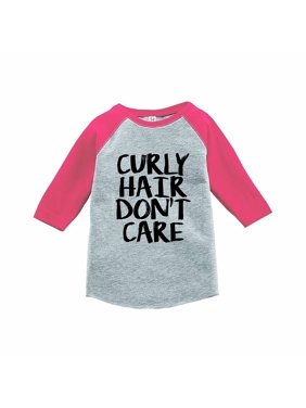 7 ate 9 Apparel Funny Kids Curly Hair Don't Care Baseball Tee Pink - 3T