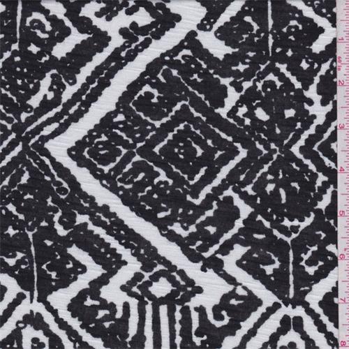 Black/White Tribal Diamond Rayon Jersey Knit, Fabric By the Yard