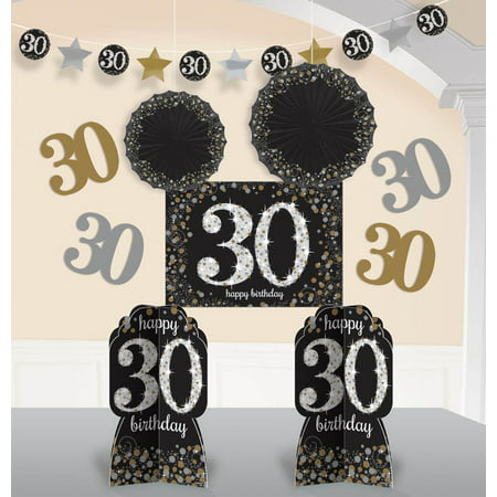 Sparkling Celebration 30th Birthday Room Decorating Kit - 10 Pieces