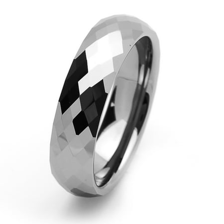Men Women Tungsten Carbide Wedding Band Ring 6mm Comfort Fit Domed Faceted Ring For Men & (24x16x112mm Faceted Dome)