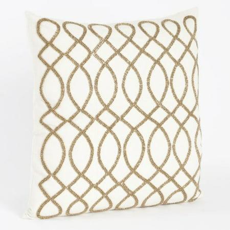 "Maris Hand Beaded Swirl Design Down Filled 18"" Square Decorative Throw Pillow (Bronze)"