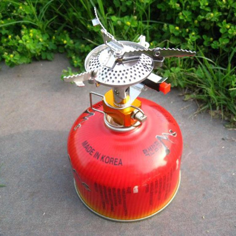 Outdoor Picnic Butane Gas Burner Portable Camping Mini Steel Stove Case