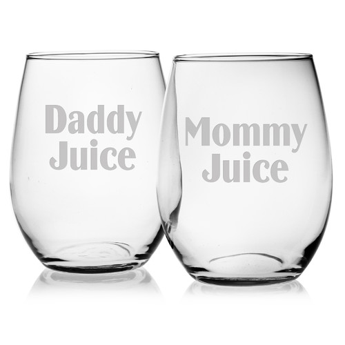 Susquehanna Glass Mommy Juice and Daddy Juice 21 Oz. Stemless Wine Glass (Set of 2)