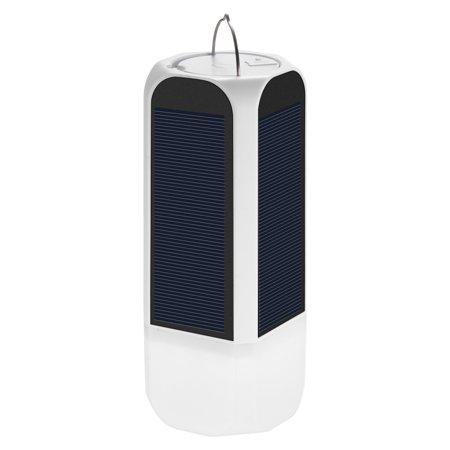 Image of 2 in 1 Solar/USB Rechargeable LED Lantern + Power Bank 3-Lighting Modes Outdoor Camping Flashlight Emergency Light with 2 USB Cables--White