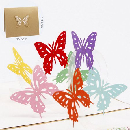 Funny Birthday Cards Coxeer Handmade 3D Pop Up Thank You Card Greeting With Envelope For Mom Dad Wife Husband Kids Daughter Son Butterfly