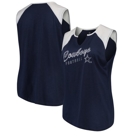 Women's Navy/White Dallas Cowboys Plus Size Quick Out Raglan Muscle Tank Top Dallas Cowboys Tape Measure