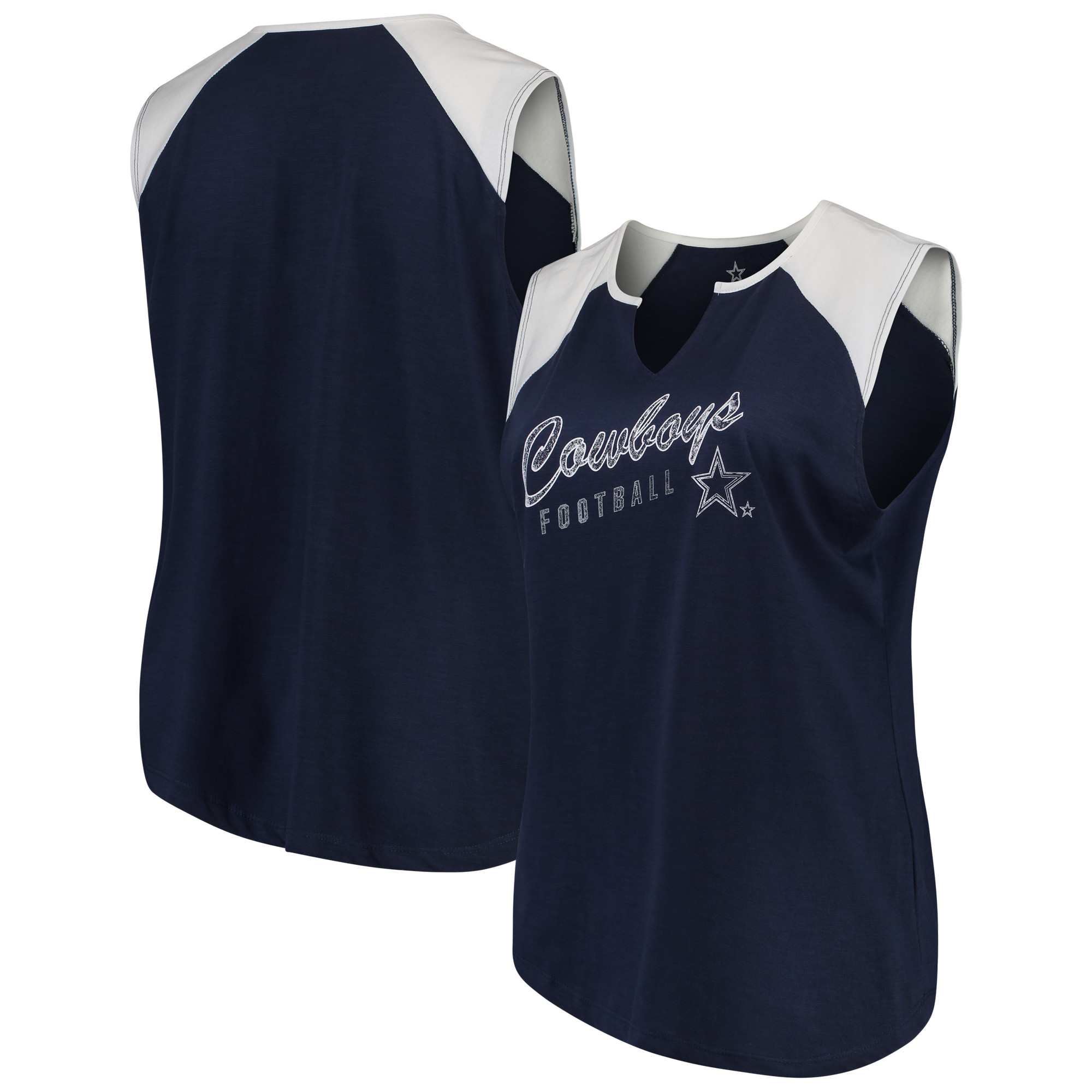 Women's Navy/White Dallas Cowboys Plus Size Quick Out Raglan Muscle Tank Top