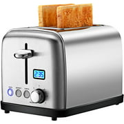 2 Slice Toaster 1.5 In Wide Slot, Clear LED Display & High Lift, Silver Toaster 2 Slice, 6 Browning Settings, Defrost, Reheat, Cancel and Bagel, Removable Crumb Tray, Auto Shutoff