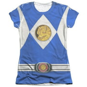 Mighty Morphin Power Rangers Blue Ranger Emblem Juniors Sublimation Shirt