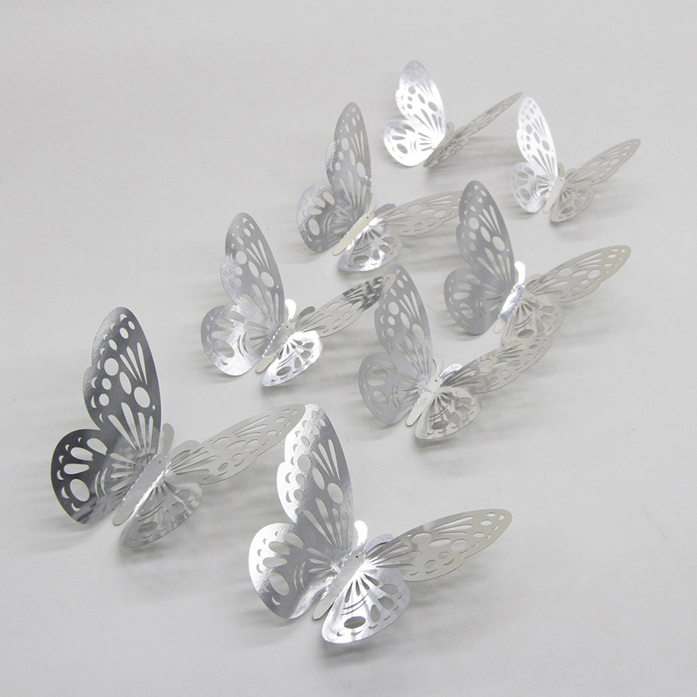 12PCS 3D Hollow Butterfly Wall Stickers Art Decal Bedroom Living Room Decoration