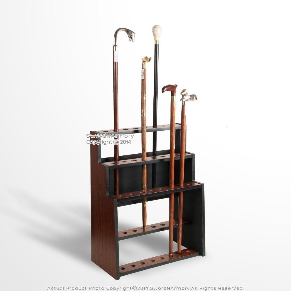 NEW 3 Tier Matte Black Wooden Walking Cane Display Stand
