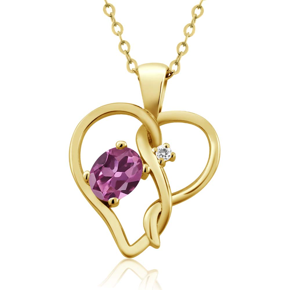 0.51 Ct Pink Tourmaline White Sapphire 18K Yellow Gold Plated Silver Pendant by