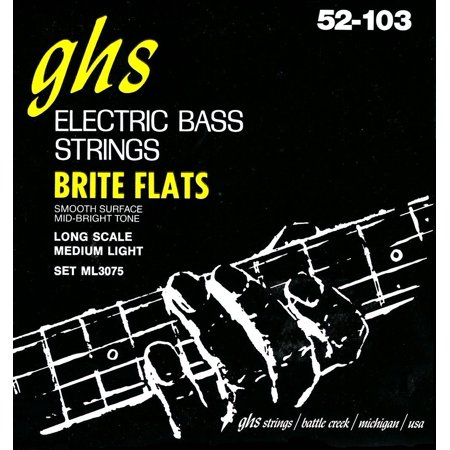 ML3075 Brite Flats Flatwound Electric Bass Strings, GHS ML3075 Brite Flats explode under your fingers, thumb, or pick with a thundering, powerful.., By Ghs From USA