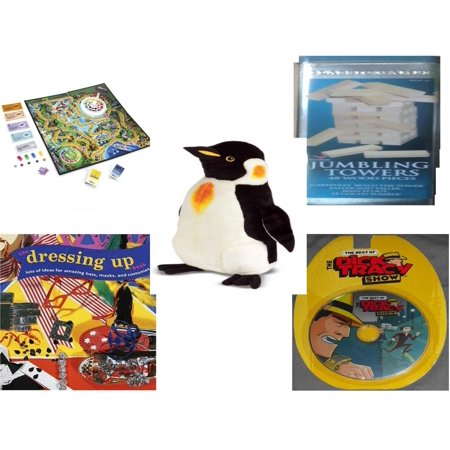 Children's Gift Bundle [5 Piece] -  The  of Life  - Solid Wood Jumbling Tower In A Tin  - Melissa & Doug Penguin Large  24
