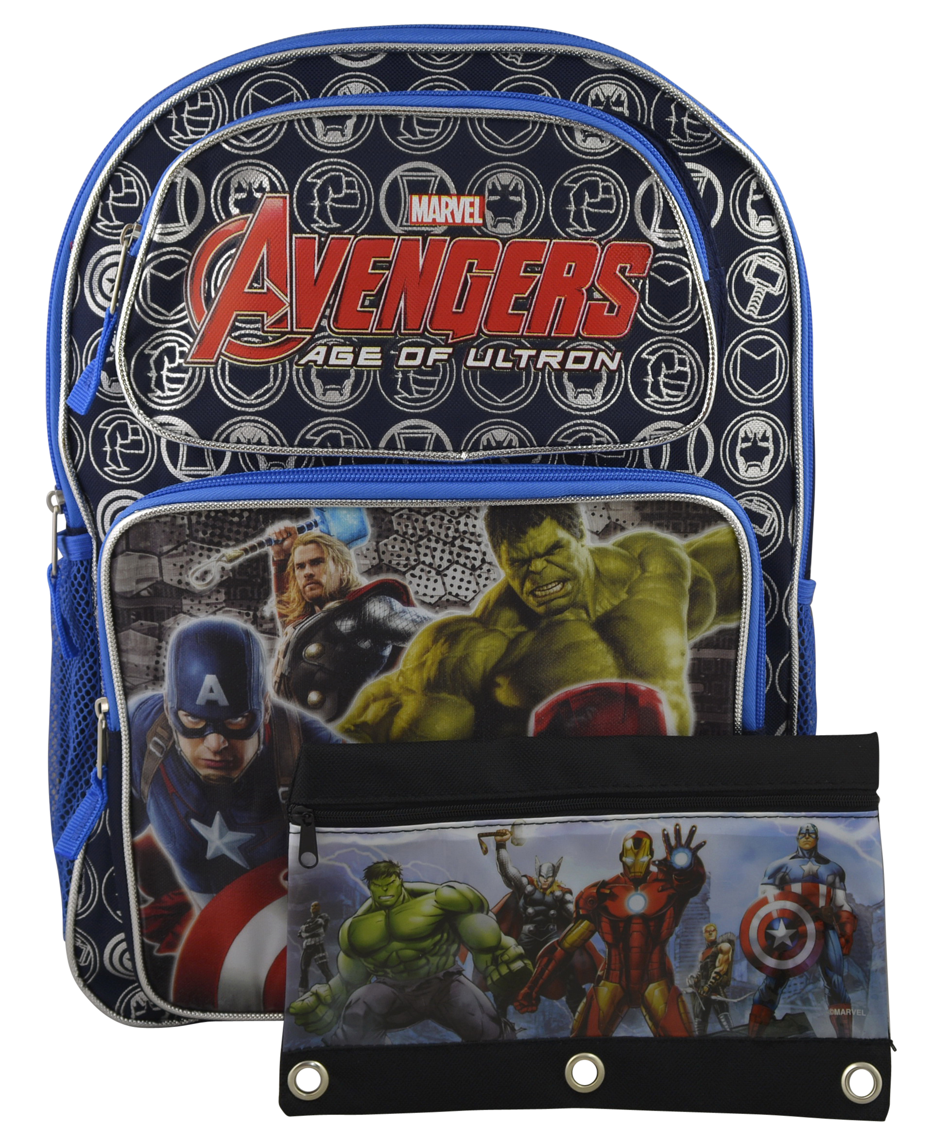 "Marvel Avengers Super Hero 16"" Deluxe Backpack Bookbag w  Bonus Stationery (Pencil Pouch) by MARVEL"