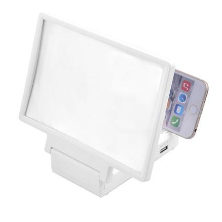 Unique Bargains Folding Portable Speaker Magnifier 3D Movie Screen Hd Amplifier White For Phone