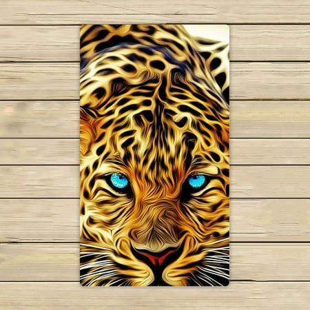 GCKG Special Effect Leopard With Authentical Blue Eyes Wild Animal Print Hand Towel,Spa Towel,Beach Bath Towels,Bathroom Body Shower Towel Bath Wrap Size 16x28 inches