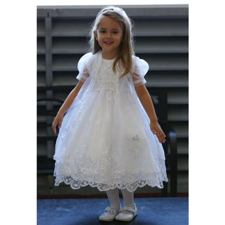 White Organza Overlay Baptism Dress Girls 6M-4T](Baseball Dress)