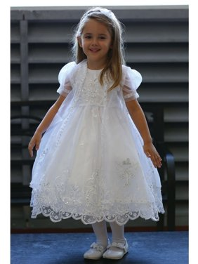 White Organza Overlay Baptism Dress Girls 6M-4T