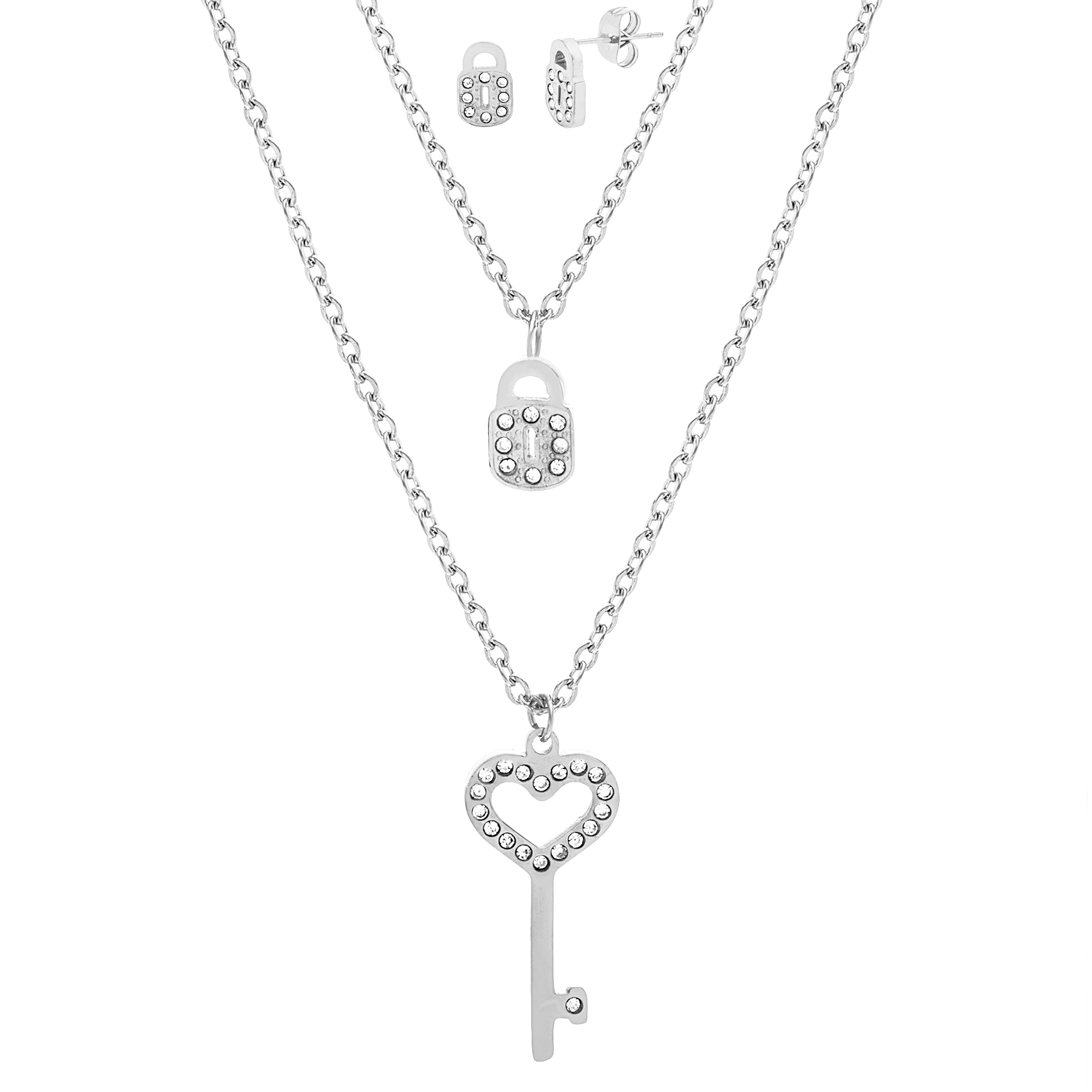 Silver-Tone Stainless Steel Cubic Zirconia Lock and Key Earring and Necklace Set