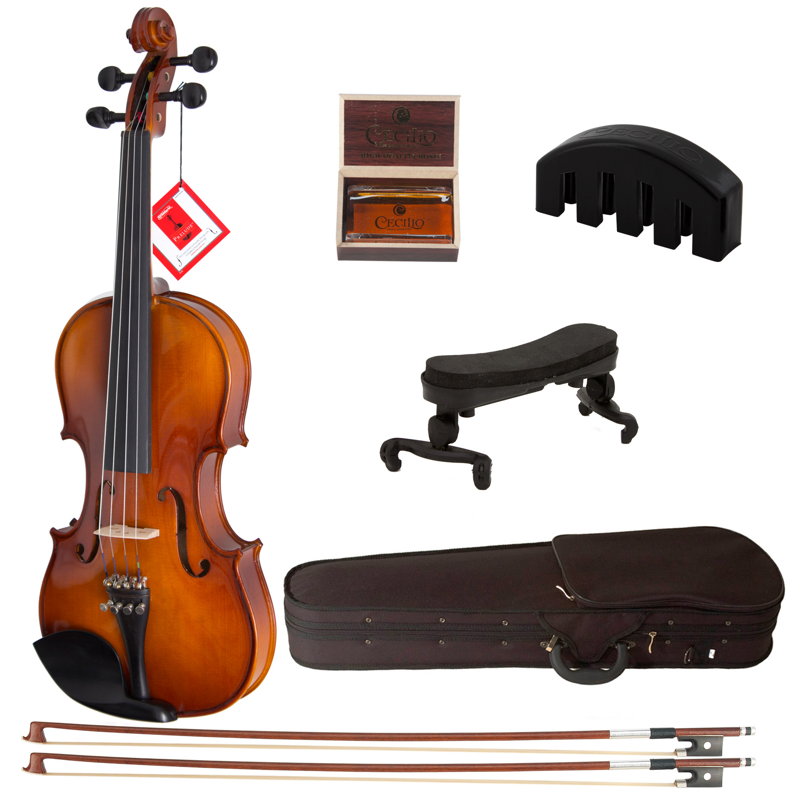 Cecilio Size 3/4 CVN-300 Ebony Fitted Solid Wood Violin w/ D'Addario Prelude Strings, Violin Mute, Shoulder Rest and More