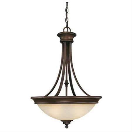 - Belmont Three Light Inverted Pendant in Burnished Bronze