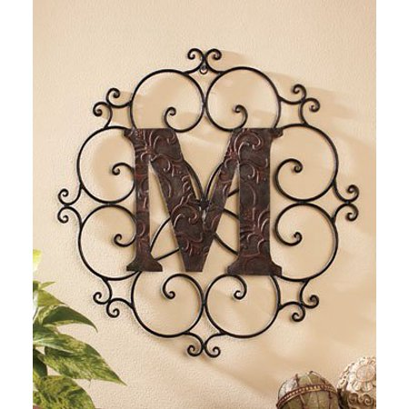 Personalized Metal Embossed Monogram Wall Hanging  M   Our Exclusive  By Ltd Commodities