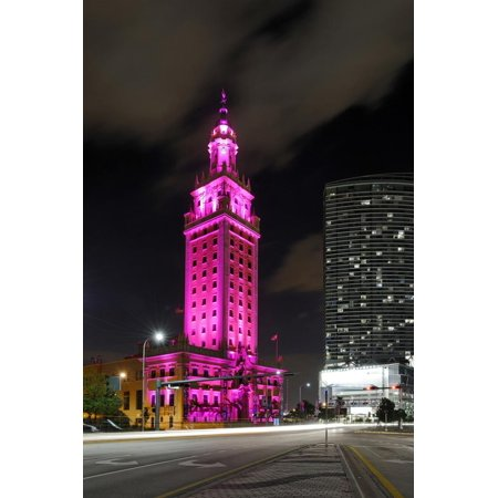 Mdc Freedom Tower at Night, Illumination in Pink, Biscayne Boulevard, Miami Downtown, Miami Print Wall Art By Axel Schmies](Biscayne Boulevard)