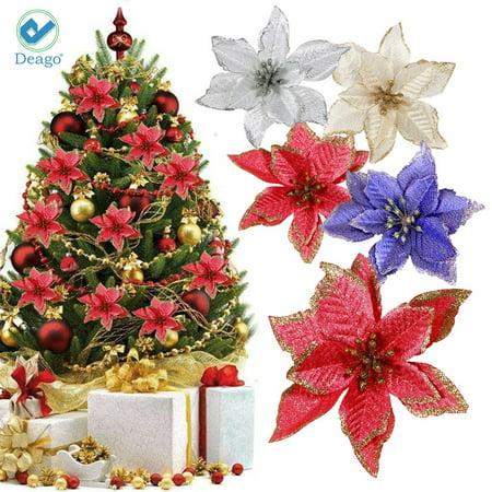 "Deago 12pcs 5.91"" Artificial Flower Glitter Poinsettia Flowers For Christmas Tree Ornament Home Wedding Party Floral Décor (Silver)"