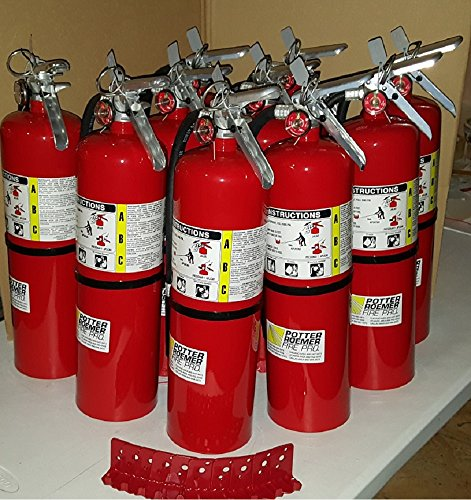 Pack Of (10) Business Fire Extinguisher, 10 LB. ABC Fire Extinguisher 4A 80B:C (Tagged) Certified, Ready For Fire Inspections. Included, Certification Tags, Wall Hook Brackets