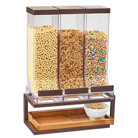 Cal Mil 3909-84 10 ltr Countertop Cereal Dispenser with 3 Containers - Metal Stand, Bronze - 18 x 10 x 24 in.