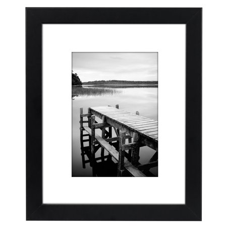 americanflat 8x10 black picture frame made to display pictures 5x7 with mat or 8x10 without
