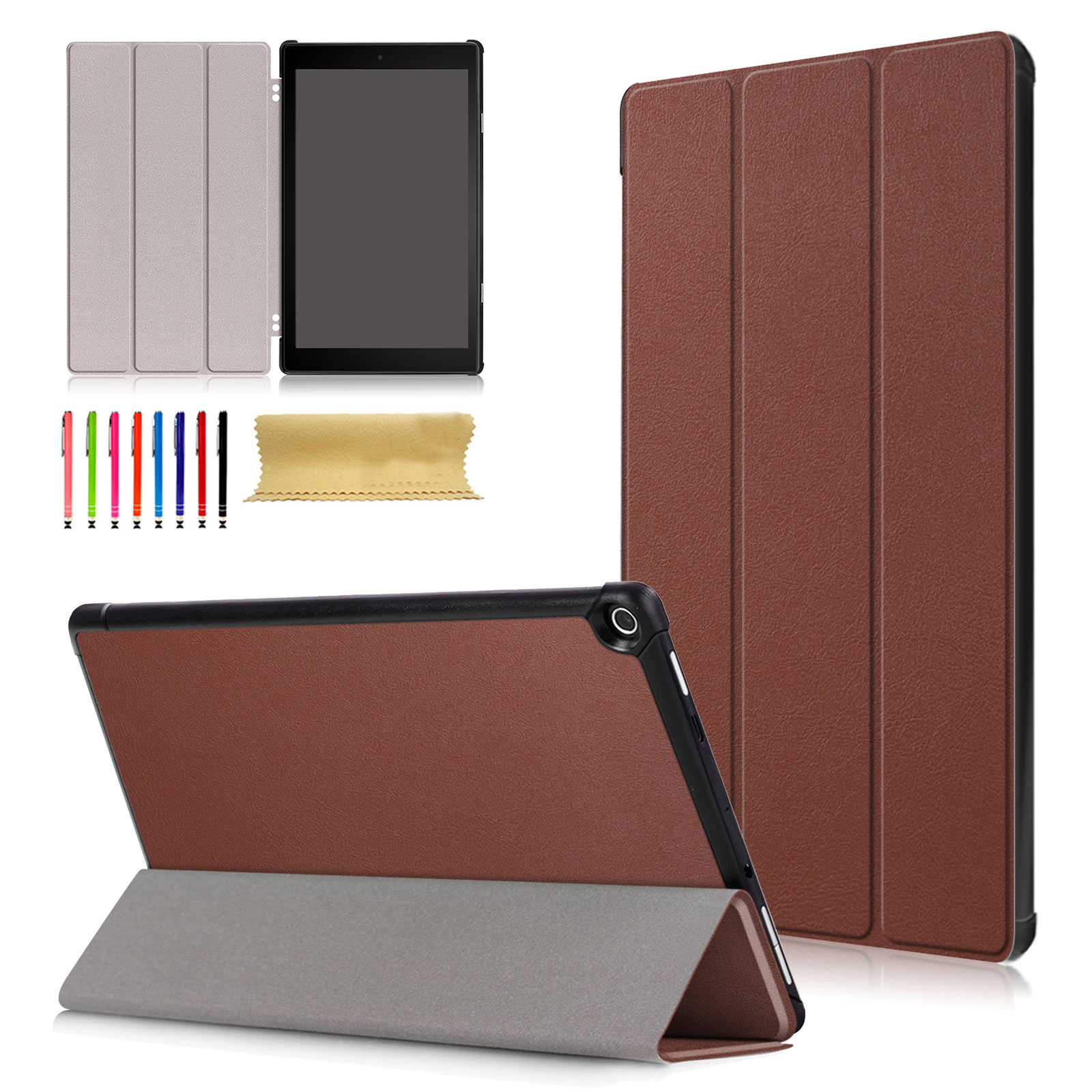 Fire HD 10 (7th Generation, 2017 Release), Goodest Ultra Slim Fit PU Leather Protective Case Cover with Smart Auto Sleep/Wake Function for Amazon Fire HD 10.1 inch Tablet, Brown