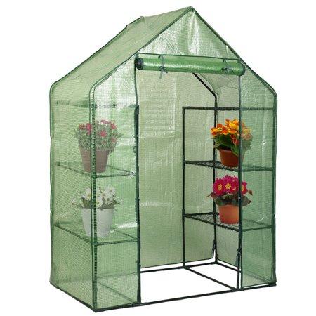 Costway Portable Mini Walk In Outdoor 4 Tier 8 Shelves Greenhouse