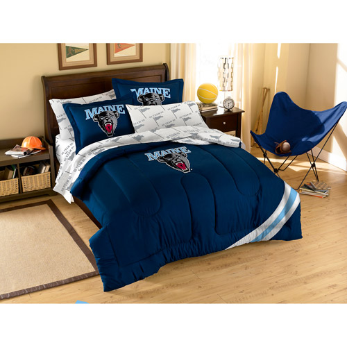 NCAA Applique Bedding Comforter Set with Sheets, University of Maine