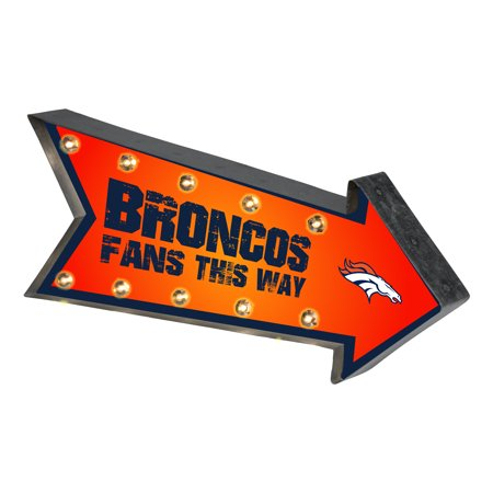 Denver Broncos Parking Sign - Forever Collectibles  Arrow Light Up Marquee Sign, Denver Broncos