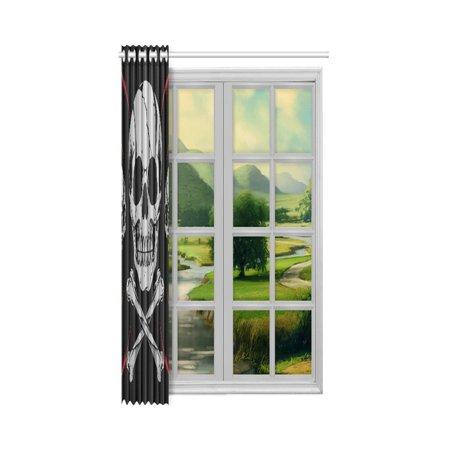 YUSDECOR Cool Skulls Bone Cross Window Curtain Living Room,Bedroom Window Drapes 52x84 inch - image 2 de 3