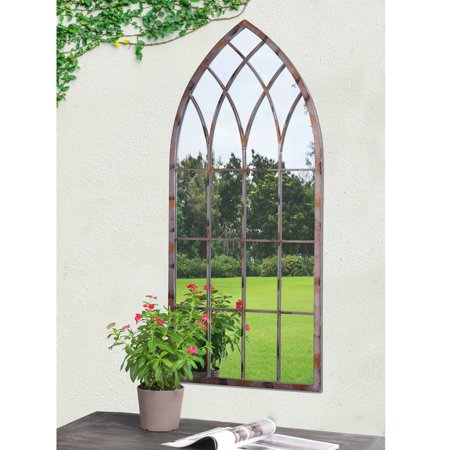 Sunjoy  Cathedral Windowpane Style Garden Mirror Made of Metal with Antique Finish, 45 Inches ()