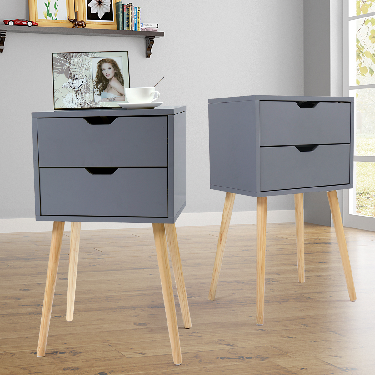 Jaxpety Set Of 2 Mid Century Modern Nightstand Bedside Table Sofa End Table Bedroom Decor 2 Drawers Storage With Solid Wood Legs Gray Walmart Com Walmart Com