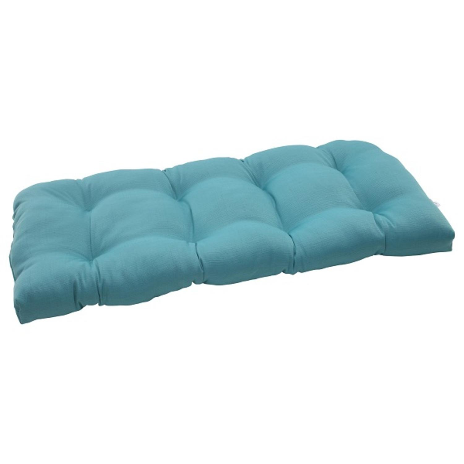"44"" Aquatic Turquoise Outdoor Patio Wicker Loveseat Cushion"