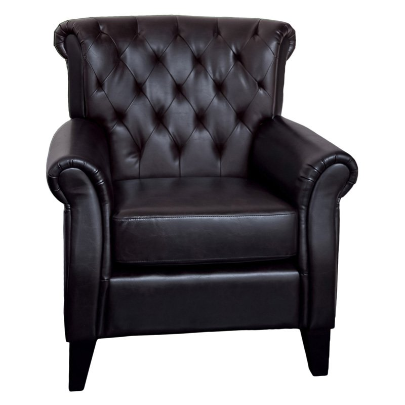Frankfurt Tufted Leather Club Chair - Brown