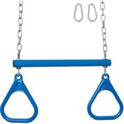 Swing Set Stuff Inc. Trapeze Bar with Rings and Uncoated Chain (Blue)